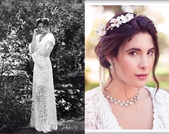 ivory cherry blossom boho wedding wreath cream bridal flower crown, bridal headband, wedding headband, bridal headpiece, wedding accessories