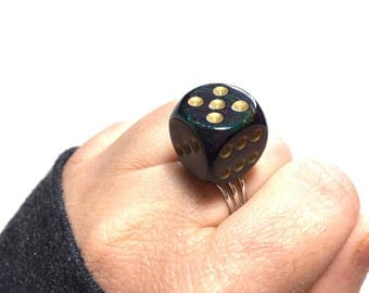 Ocean Dice Ring, Bunco, Adjustable Ring, Vegas, Bachelorette Ring, Bunco Party, Gift, Gift for Her, Under 5 dollars, Casino Night, Weird
