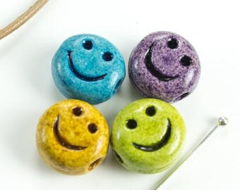 Set of 4 Ceramic Smiley Face Beads Happy Face Carved Smile COOL COLORS Emoticon Symbol Bead 12mm Spring Diy Supplies, Handmade in USA - 4pcs