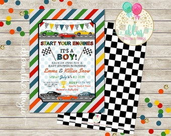 Racing Baby Shower, BABY BOY Shower Invitation, Race Car, Matchbox Car, Racing Invite, Start Your Engines, Printable Baby Shower, DIY