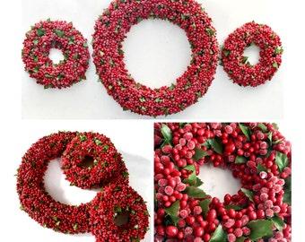 Vintage Berry Wreath Centerpiece Set, Three Berry Wreath Centerpieces, Christmas Centerpieces, 3pc Red Berry and Silk Leaf Centerpieces