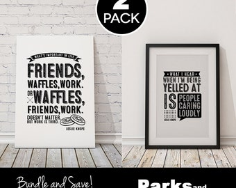 """Leslie Knope Quote Posters - """"Friends, Waffles, Work"""" + """"People Caring Loudly"""" ~ 2 Bundle Pack~ Digital Printable Art Posters ~ Parks & Rec"""