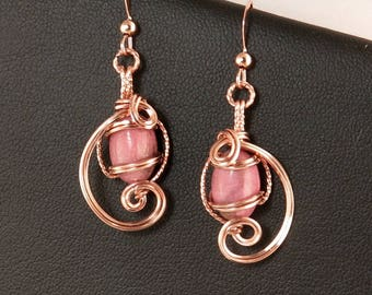 Rose Pink Rhodonite Gemstone Rose Gold Drop Earrings, Wire Sculpture Rose Gold Pink Wire Sculpture Earrings, Unique Wire Art Earring Gift