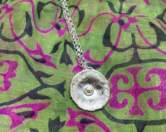 Long Contemporary Silver Flower Necklace