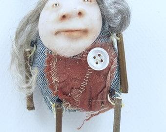 Folk Art Doll Ornament holiday christmas coth clay miniature doll #42