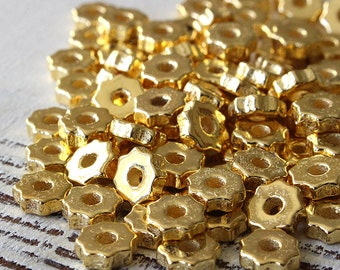 Tiny Gear Washer Beads -  Gold Mykonos Beads - Jewelry Making Supplies - Metalized Ceramics Greek Beads -  24K Gold Beads - Choose Amount