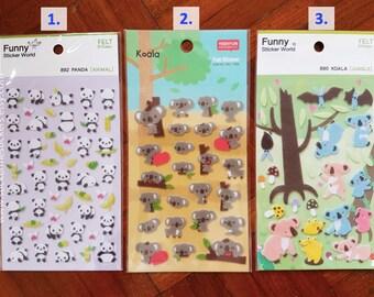 FUZZY Koala stickers, Panda sticker, Koala Bear stickers, Bear stickers, Koala stickers, Pandas, Animal stickers, Funny Sticker World