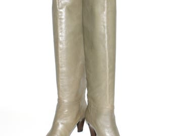 YVES SAINT LAURENT Vintage Grey Leather Tall Boots Heels Size 7 M - Authentic -
