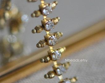 Brass Rhinestone Bead Chain 11mm, Unplated Brass Designer Crystal Chain (#RB-028)/ 1 Meter=3.3ft