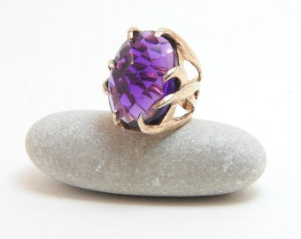 Amethyst Gemstone , Unique Design , Sterling Silver Handmade Ring