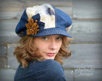 Patchwork Newsboy Hat Denim and Eco Dyed Canvas