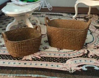 Miniature Oblong Baskets, Set of 2, Dollhouse Miniatures, 1:12 Scale, Dollhouse, Fairy Garden Accessory, Oblong Resin Baskets