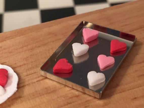 Miniature Heart Cookies on Tray, Cookie Sheet, Dollhouse 1:12 Scale Miniature, Dollhouse Kitchen Accessory, Miniature Food, Baking