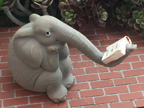 Elephant Figurine, Mini Elephant Reading A Book, Style 4564, Fairy Garden Accessory, Miniature Gardening, Home & Garden Decor, Topper
