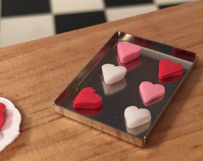 Featured listing image: Miniature Heart Cookies on Tray, Cookie Sheet, Dollhouse 1:12 Scale Miniature, Dollhouse Kitchen Accessory, Miniature Food, Baking