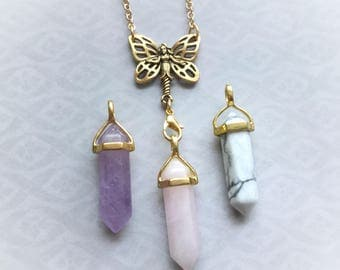 Crystal Fairy necklace, interchangeable crystal point pendant, double terminated