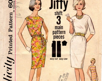 1960s Simple Dress Pattern - Vintage Simplicity 4947 - Size 14 Bust 34 Jiffy Pattern
