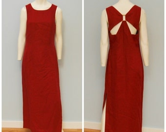 Vintage 1990's Bohemian Maxi Dress Burgundy Linen with Buckle in Back Sleeveless Summer Size 8 Carole Little Burnt Red