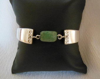 Silver and Chalcedony  Antique Spoon Bracelet   7.5 inch