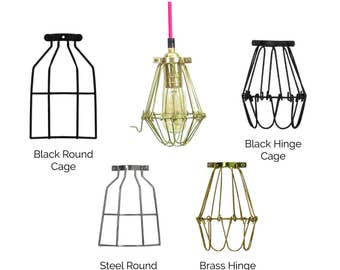 Cage Pendant Light - Vintage Pendant Light Edison Bulb Light Fixture - Hardwired Fixture OR plug in SWAG - Hangout Lighting