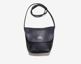 Vintage Mini Leather Bag / Black Leather Bag / Mini Cross Body Purse / Leather Satchel