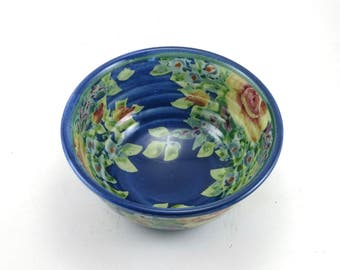 Handmade Serving Bowl - Blue Floral Ceramic Pottery Bowl with Roses and Flowers - OOAK