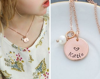 SALE • Rose Gold Heart Necklace • Rose Gold Necklace • Personalized Girlfriend Gift • Wife Gift • Pearl Necklace • Heart Jewelry•Custom Gift
