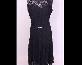 Vintage 1930s Dress 30s Dress Full Bloom Rose Lace Lavandar Illusion Dress & Jacket XL/XXL