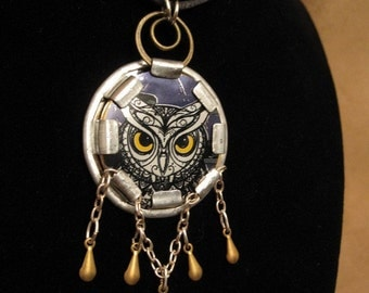 collage necklace - recycled cider can punched aluminum owl with brass charms