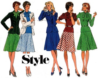 Style 4989 70s Blouse Skirt & Skirt Vintage Sewing Pattern Size 12 Bust 34 inches UNCUT Factory Folded