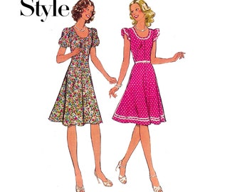 Style 1133 Womens Fit & Flare Boho Kawaii Cute Dress70s Vintage Sewing Pattern Size 10 Bust 32 1/2 inches UNCUT Factory Folded