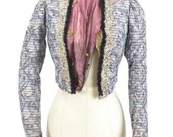 Antique Victorian Watercolor Silk Bodice with Applique Lace and Embroidery Circa Mid 1890s ~ For Study