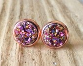 Magenta, Gold, Purple Druzy Stud Earrings, Faux Drusy Posts, 10mm Round Rose Gold Studs, Gift For Her, Small Dainty Studs