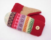 Felted Wool Sweater Mittens Fleece Lined Red with Tan and Multi-Colored Stripes