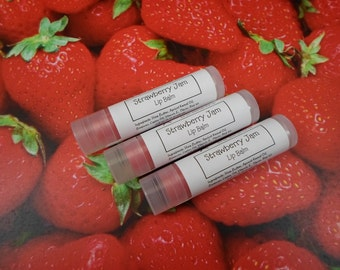 Strawberry Jam Flavored Lip Balm | Bridesmaid Gift | Party Favor | Stocking Stuffer | Lip Balm with Shea Butter and Vitamin E | Gift for Her