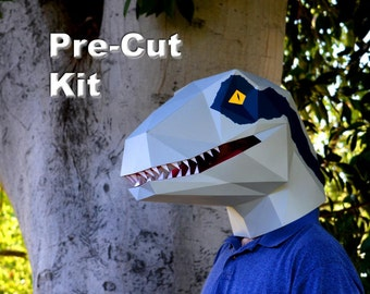 Dinosaur Mask - Pre-Cut Velociraptor Mask Kit - Build a Raptor with just Glue! | Halloween Mask | Dinosaur Costume | DIY Mask