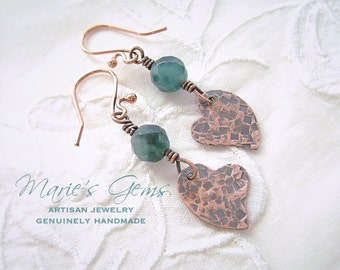 Heart Earrings, Blue Earrings, Copper Jewelry, Blue Quartz Earrings, Handmade Jewelry, Blue Spotted Quartz, Textured Copper, Valentines Gift