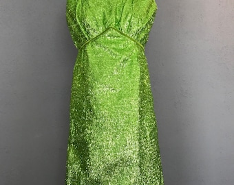 60s vintage Green tinsel dress with velvet trim small DR51667