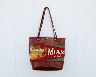 Miami Florida Vintage Pennant Cognac Leather Standard Travel Tote