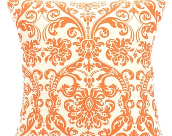 Orange Cream Damask Decorative Throw Pillow Covers, Cushions, Orange Cream, Abigail Decorative Pillows, Couch Bed Sofa Pillows, ALL SIZES