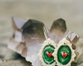 Porcelain Jewelry, Romantic Heart Earrings in Green Crackle by Mrs Peterson Pottery