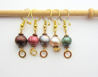 Removable Bead Knitting  / Crocheting Stitch Markers - Set of 5 Handmade Stitch Markers - Assorted Fresh Water Pearls - US 11 / US 2
