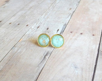 S E A  - Mint Green and Gold Sparkle, Gold Leaf Foil, Gold Toned Brass Stud Earrings, 10mm or 12mm