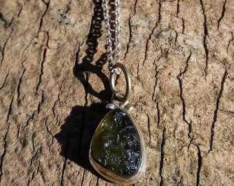 Gorgeous Moldavite and Sterling Silver Necklace