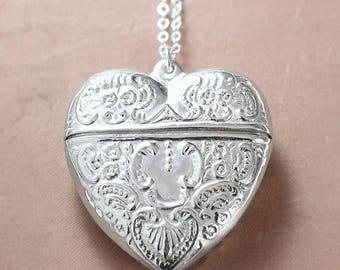 Extra Large Heart Sterling Silver Locket Necklace, Filigree Embossed Love Letter Carrier Design - Chatelaine