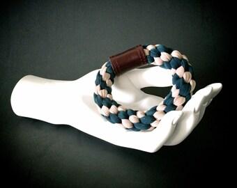 braided bracelet // woven cuff bracelet // teal stretch bangle // unique bracelet // chunky bangle // stretch bracelet // chunky bracelet