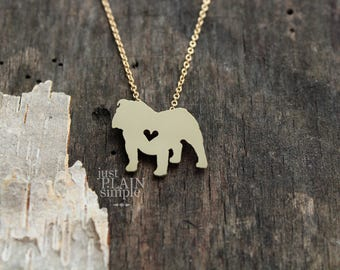 English Bulldog necklace, tiny BRASS hand cut pendant with heart, with 14K gold filled chain, tiny dog breed jewelry,