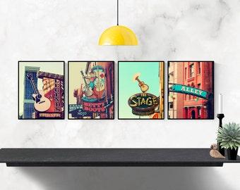 Nashville signs, neon sign art, set of 4 prints, gallery wall art, Nashville wall art, apartment decor, city photography, Nashville decor