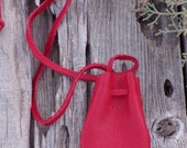 Red leather medicine bag , Red leather necklace bag , Ready to ship , Red amulet bag