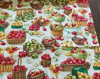 "14"" x 30"" Cotton Screen Print Fruit Baskets Apple Harvest Pattern Print Fabric Thanksgiving Autumn Fall  / Upholstery Drapery S120"